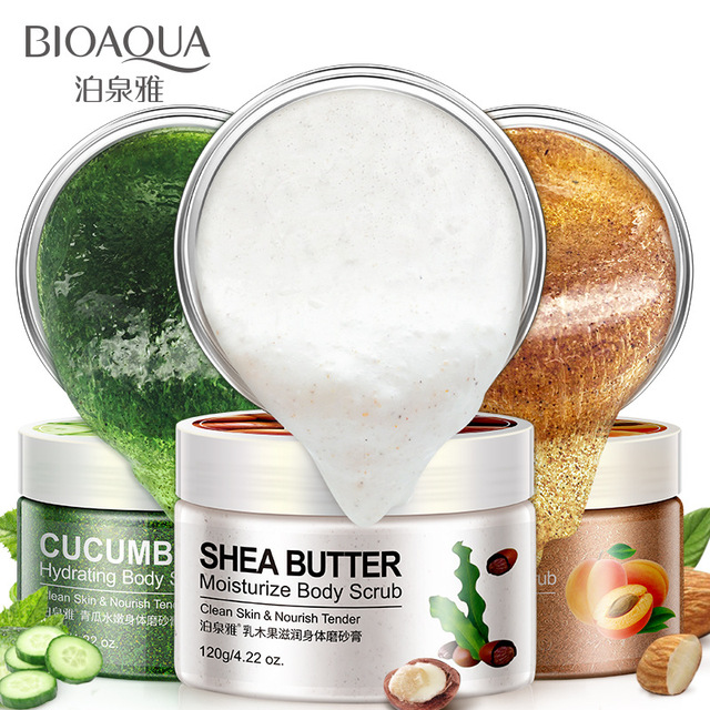 Bioaqua Body Scrub Exfoliating Gel Shea Butter Almond Cucumber gel Skin Whitening Dead Skin Remover Scrub Cream Body Care