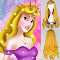 Anime Sleeping Beauty Princess Aurora Wig Halloween Play Wig Party Stage High Quality Long Yellow Hair