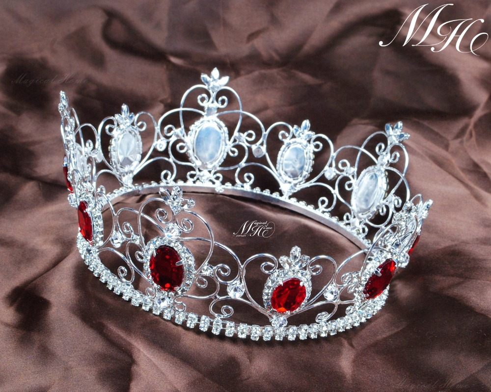 Crowns full circle round tiaras rhinestones crystal wedding bridal - Aliexpress Com Buy Red Semi Precious Stone Tiara Diadem Full Circle Round Crown Clear Rhinestone Crystal Beauty Pageant Party Hair Accessories From