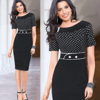 2015 New Women Polka Dot Work Dresses Short Sleeve Patchwork Bodycon Pencil Dress Vestidos De Renda