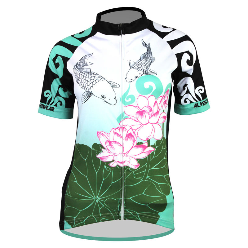 ФОТО AlienSportsWear Carp and Lotus Pattern Womens top Sleeve Cycling Jersey Summer Quick Dry Bike Clothing Size XS-5XL