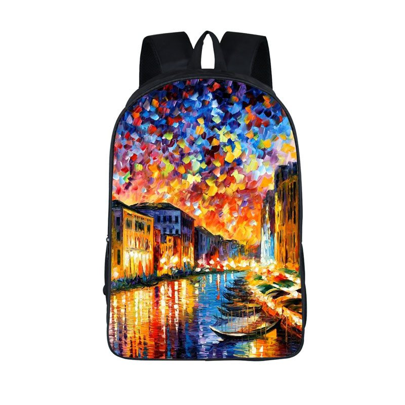 Oil Painting Tourist Attractions Backpack For Teens Venice The Eiffel Tower Backpacks Schoolbags Boys Girls School Bags Backpack shakespeare w the merchant of venice книга для чтения