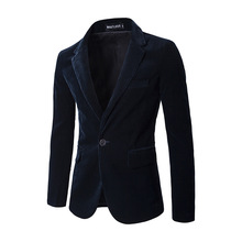 New winter males's Corduroy Jacket stable one button gentleman costume go well with jacket