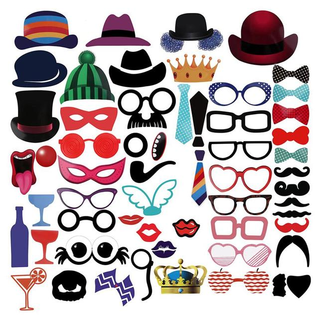 58 unids DIY sombrero Gafas bigote rojo Labios arco Corbatas en Palos  photobooth divertido máscara foto c5a396e0aa1