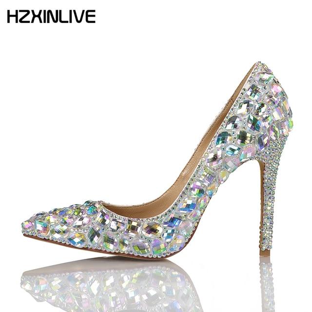 GGOB Large Glass Crystal luxury Ladies shoes designers 2018 High Heels Pumps  9cm Wedding Shoes Women Shoes Handmade Sheepskin 19b3c2588f37