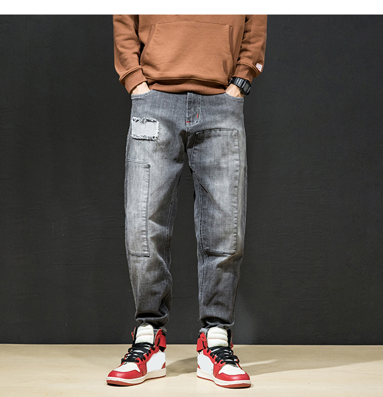 KSTUN Jeans Men Japan Harem Pants Ripped Patched Hip hop Joggers Distressed Biker Jeans Grey Stretch Casual Denim Trousers Boys 19