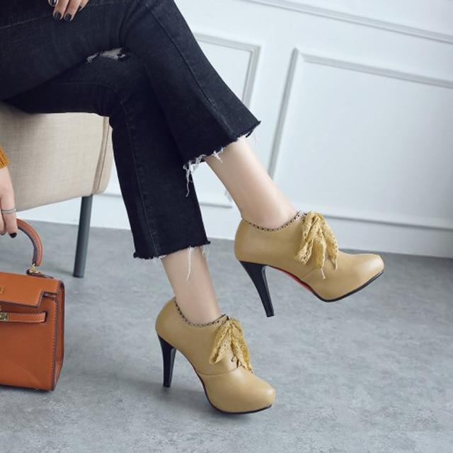 Big Size 11 12 13 14 15 ladies high heels women shoes woman pumps Round headed single shoe waterproof table lace strap