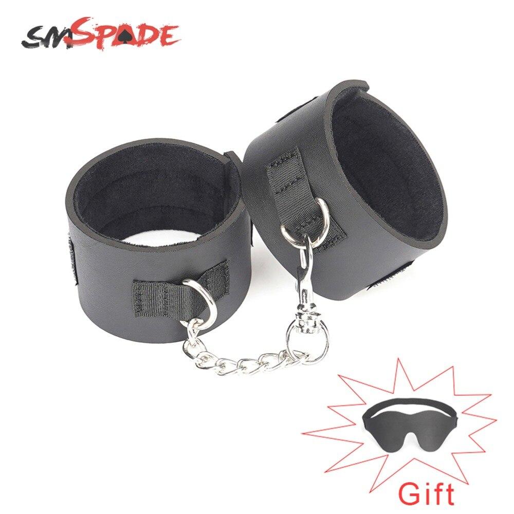 SMSPADE Black Sex Toys Cuffs Handcuffs Bondage Ankle Cuffs Bondage Slave Sex Toys for Couple BDSM Sex Products