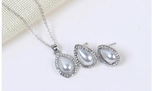 Image 2 - Poem snow Fashionable Simple Water Drop Earrings Necklace Set