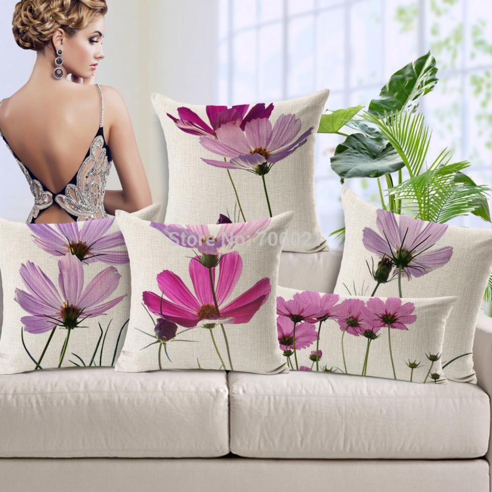 European Cushion Decorative Cushion Small Pink Flowers Colorful Pillow  Almofada Decorativa Ome Decorative Pillows(China