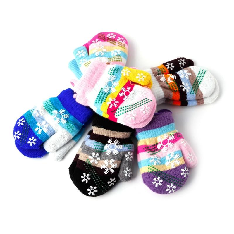 цена Fashion Snow Gloves Kids Mitten Children Knit Velvet Warm Kid Gloves Winter #330 в интернет-магазинах