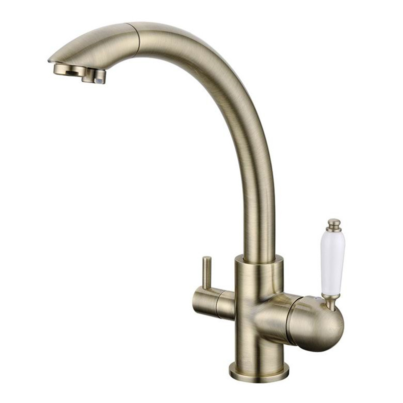 2017 Wholesale New Arrival Victoria Antique Bronze Kitchen Faucet Vintage Drinking Filtered Sink Mixer 3 Way