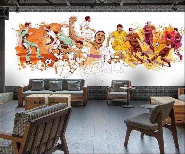 3d wallpaper custom photo non woven mural wall sticker european soccer painting 3d wall room