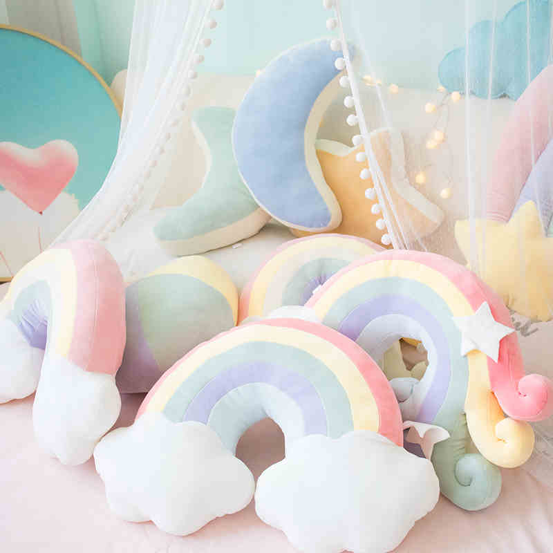 LionPaw Cute Rainbow Baby Room Decor Baby Bed Bumper For Newborn Pink Crib Sides Protect Comfortable Maternity Pillow