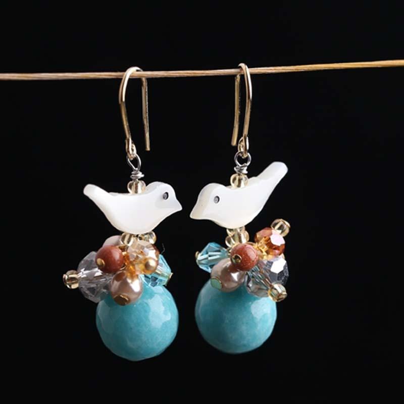handmade earrings natural stone retro long earrings