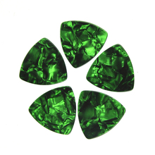 Lots of 100 pcs Rounded Triangle Big Size Medium 0.71mm Celluloid Guitar Picks Green Pearl