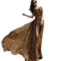 2017 New Women Summer Dress Elegant Ladies Leopard Print Sexy V-Neck Split Hem Plus Size Long Chiffon Maxi Beach Dress Vestidos