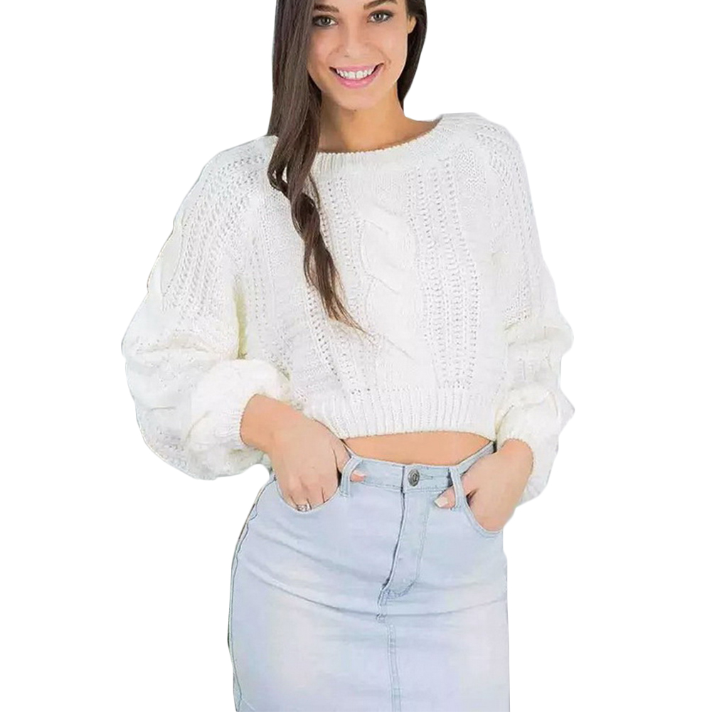 Autumn Winter Women O-Neck Lantern Sleeve Thick Knitted Pullover Office Lady Solid Short Sweater