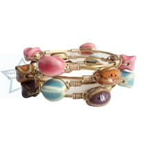 Western Style Concise Style Handmade Ceramic Clay Gold Copper Wire Wrap Bangle Jewelry Bracelets