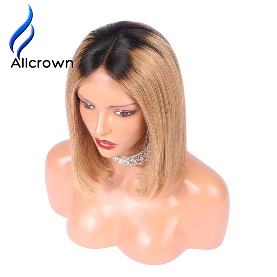ALICROWN Ombre 1b27 Lace Front Human Hair Wigs Full Ends Brazilian Remy Hair Bob Wigs Pre