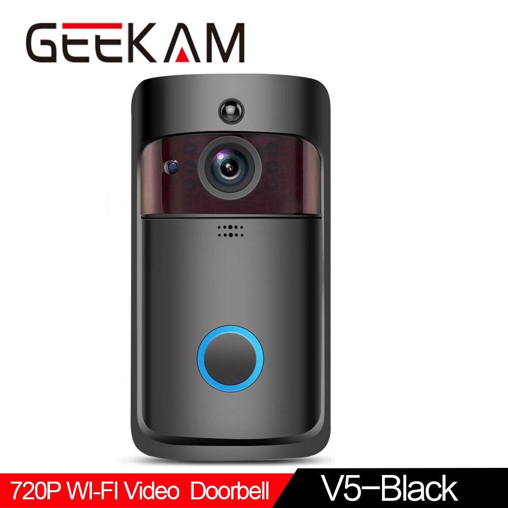 WiFi Video Doorbell V5 Black Smart IP Video Intercom WI-FI Video Door Phone For Apartments IR Alarm Wireless Security Camera