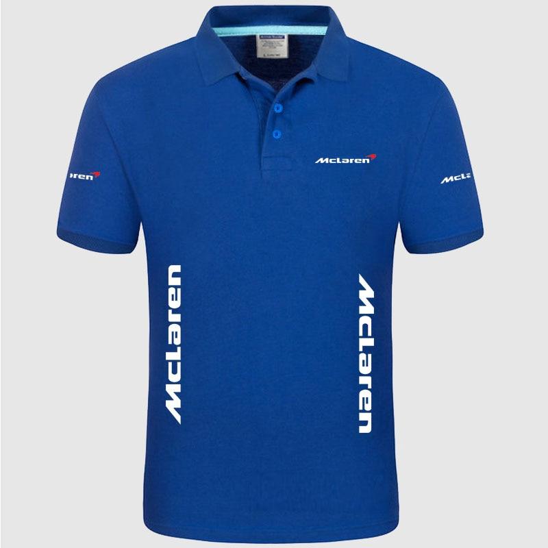 Summer High quality brand McLaren logo polo short sleeve shirt Fashion casual Solid Polo Shirt unisex shirts