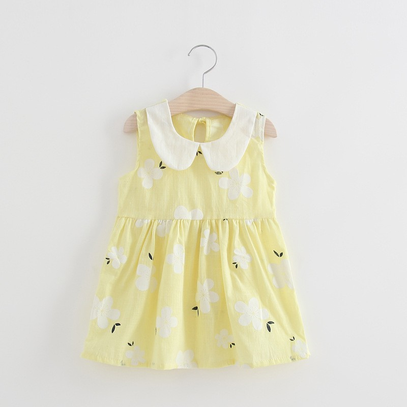 Newborn Baby Girl Clothes Summer Toddler Girl Sleeveless Floral Printed Lovely Dress Casual Children Cotton Sundress Outfit 2 7Y in Dresses from Mother Kids