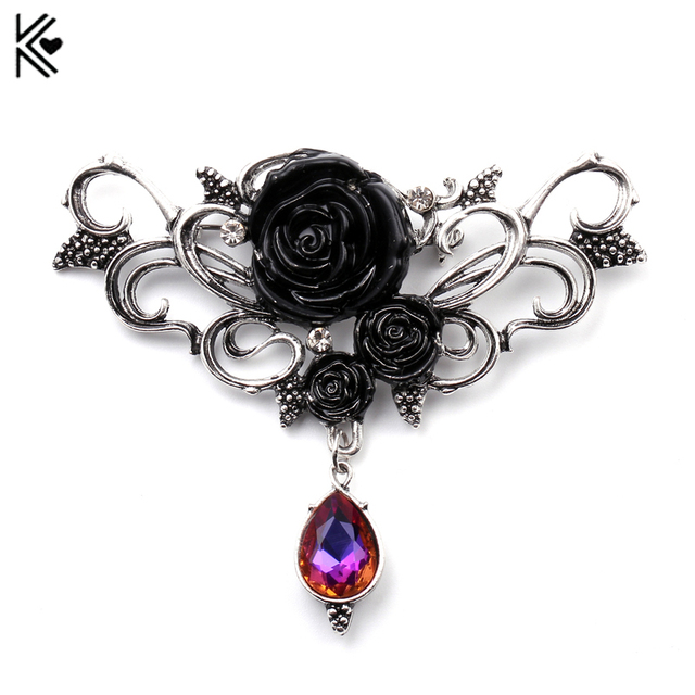 Jet Black Star Floral Brooch and Pendant eUV3ggcPs