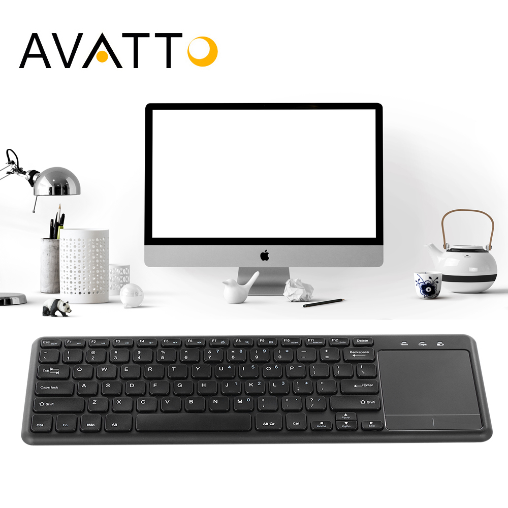 [AVATTO] Thin-size 2.4GHz Wireless Multimedia Touchpad Keyboard with Touch pad Mouse for Windows IOS Android PC,Desktop,TV Box