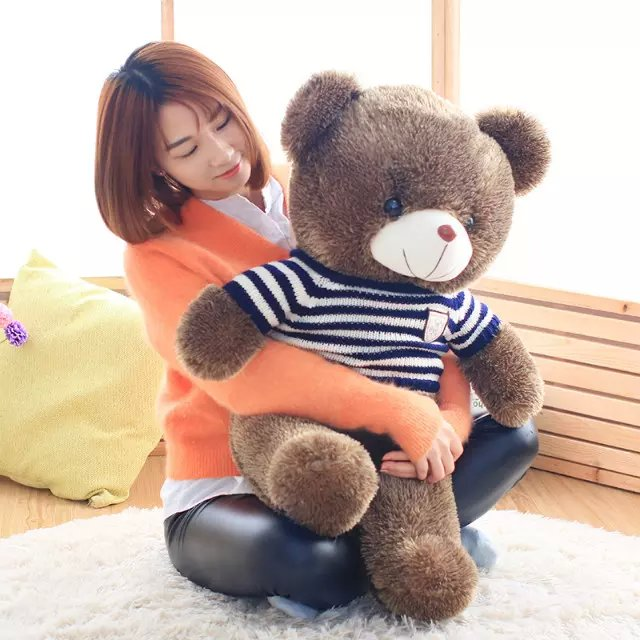 lovely blue stripes sweater teddy bear plush toy large 100cm bear throw pillow birthday gift h875 lovely giant panda about 70cm plush toy t shirt dress panda doll soft throw pillow christmas birthday gift x023