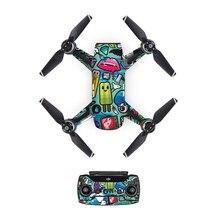 [DJS0032] прекрасная наклейка из ПВХ для дрона DJJ Spark body+ пульты дистанционного управления+ 3 защитный чехол для аккумулятора