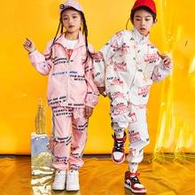 Niños Niñas Jazz traje de la danza de la calle rendimiento conjunto otoño niños  ropa Hip Hop trajes traje de chaqueta pantalones. 4086ab2c0cf