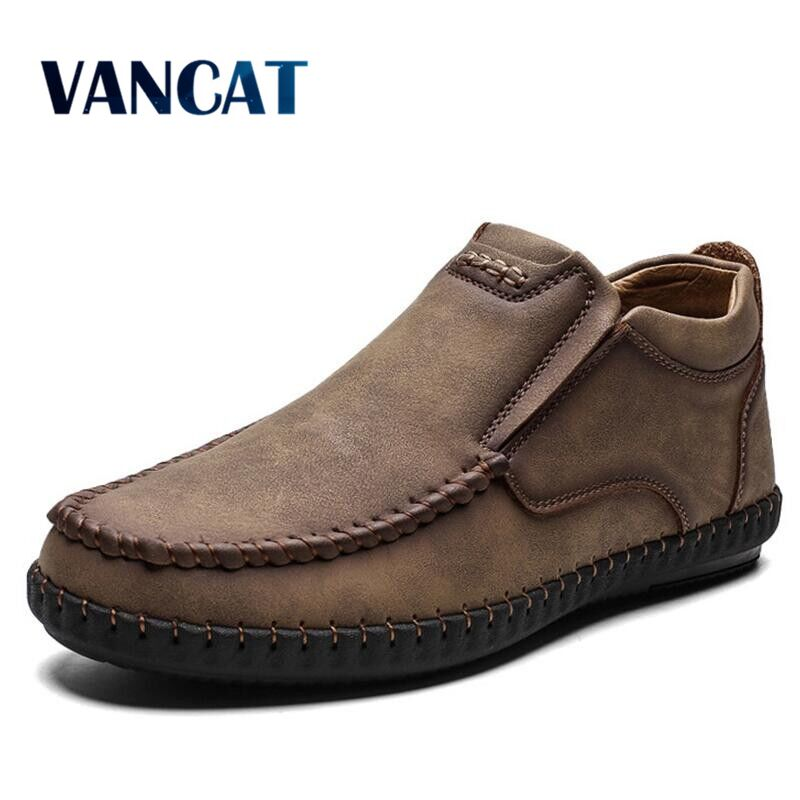 Vancat New Fashion Men Boots High Quality Split Leather Ankle Boots Warm Fur Plush Snow Boots Men's Winter Shoes Plus Size 38-48