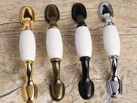 3 Kitchen Cabinet Knobs  Dresser Drawer Pull Handles Knob Plain White Black Gold Silver Antique Bronze Furniture Handle 76 mm 5 drawer knobs pull handles dresser knob pulls handles antique black silver furniture hardware kitchen cabinet door handle pull