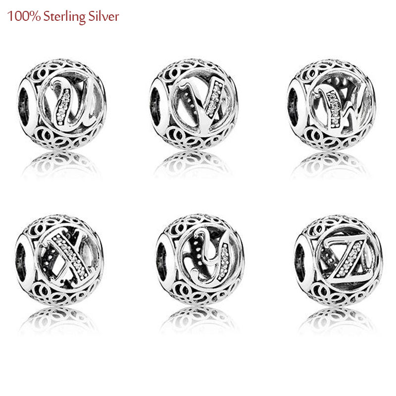 Letter Charms U - Z se hodí k náramkům Pandora Evropská móda Originální 925 Sterling Silver Charms Abeceda DIY Miking