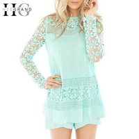 HEE GRAND Hollow Out Lace Blouse 2017 Summer Long Sleeve Blue Blouses Shirt Women Sexy Back