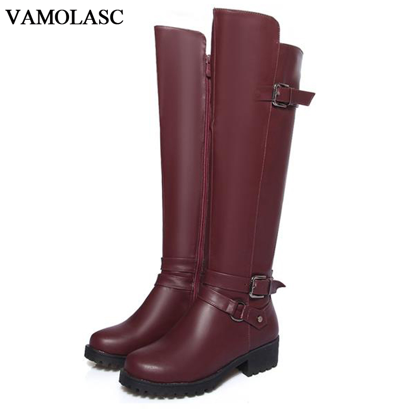 VAMOLASC New Women Autumn Winter Leather Knee High Boots Warm Zipper Square Med Heel Boots Platform Women Shoes Plus Size 34-43 new big size 34 42 high quality pu genuine leather boots square heel winter shoes zipper buckle women knee high boots