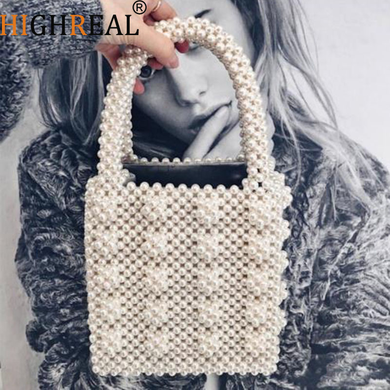 Fashion Vintage Female Top-handle Purse Small Flap Evening Bag Handmade Pearl Lady Luxury Handbags Chic Ins Box beaded Bag BrandFashion Vintage Female Top-handle Purse Small Flap Evening Bag Handmade Pearl Lady Luxury Handbags Chic Ins Box beaded Bag Brand