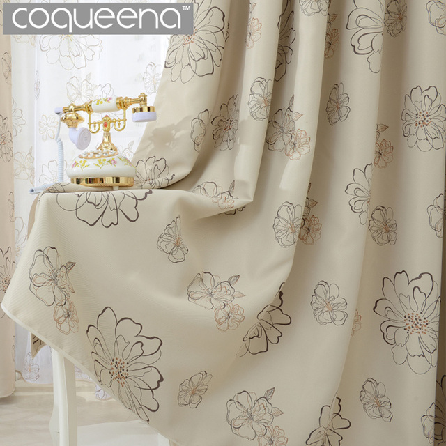 Beige Cream Fl Blackout Curtains For Living Room Bedroom Kitchen Window Curtain Panel D Drapary