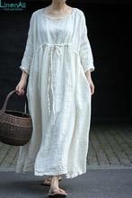 LinenAll women's summer dress, ivory white square collar pumping 100% linen jacquard loose one-piecelong dress gown yijiu