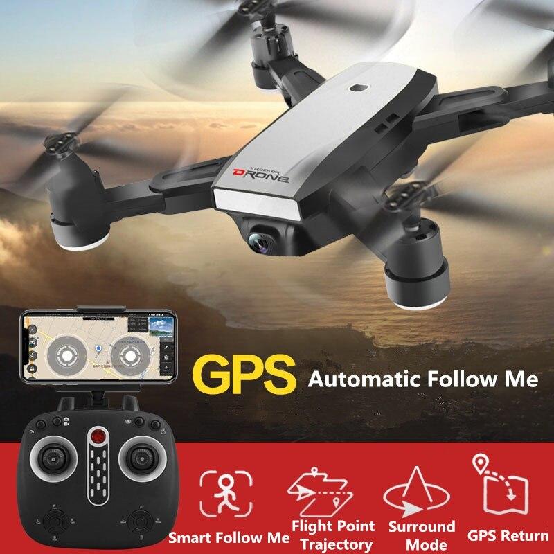 Складной Aerial Дрон GPS Wi Fi FPV Follow Me удаленного Управление Радиоуправляемый Дрон 720 P 1080 P регулируемая камера VS X8 PRO B5W B2W с мешком