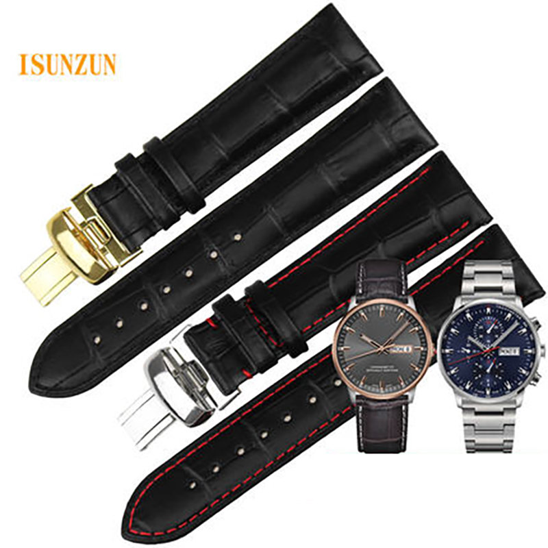 ISUNZUN 21mm Watch Band For Mido M016.430 M021.431 Genuine Leather Watch Straps for MIDO Commander Waterproof Durable Bracelet men s genuine leather watch strap for tissot mido waterproof calfskin leather watch band for fits all brand women bracelet belt page 1
