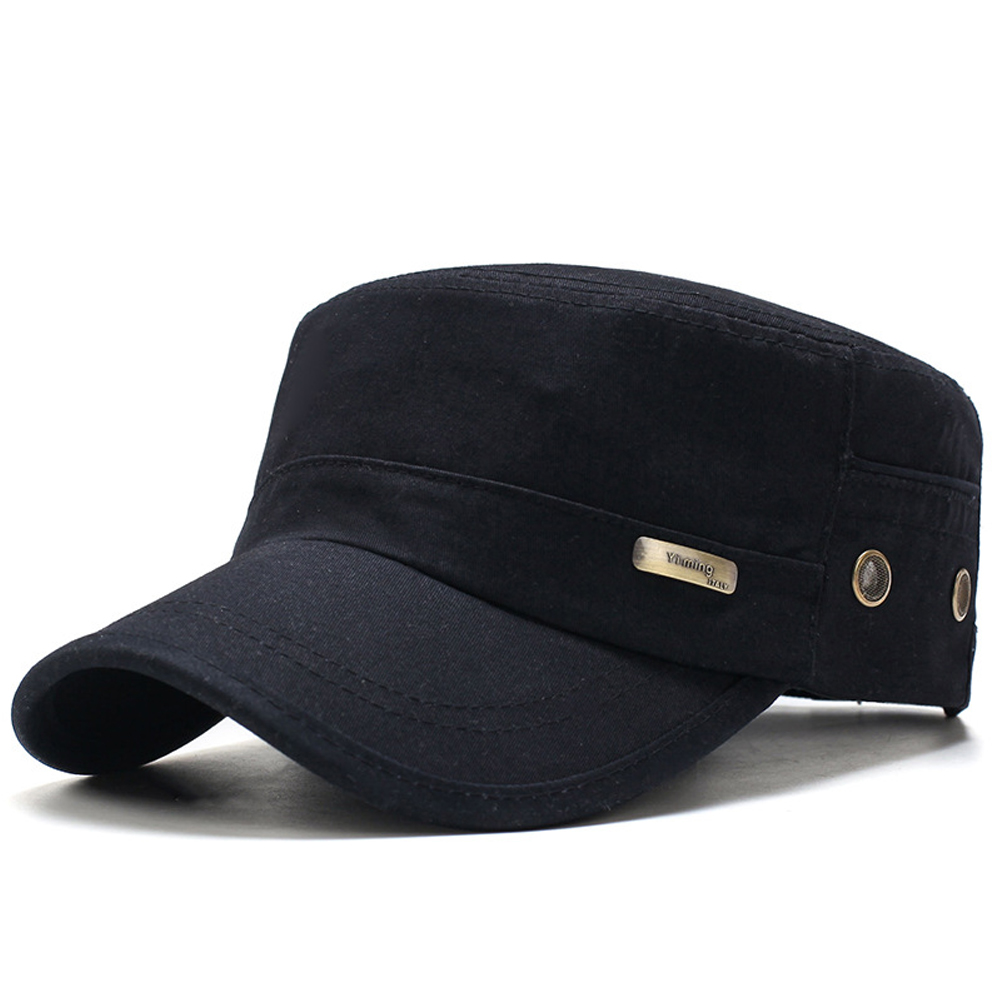 Men Summer Army Caps Adjustable Spring Baseball Fashion Classic Cotton Flat Top Military Hat Outdoor Sunproof Casual