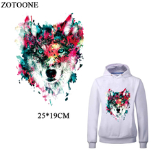 ZOTOONE Multicolor Wolf Patches For Clothing Iron-on Transfers New Design DIY T-shirt Dress Thermal Transfer Patch