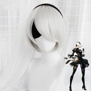 Image 2 - High quality YoRHa No.2 Type B 2BYoRH 2A 9S 2B wig Cosplay Wig NieR:Automata Costume Play Wigs Costumes Hair +Wig Cap