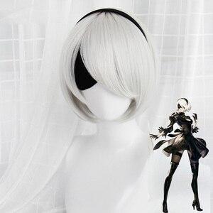 Image 2 - คุณภาพสูง Yorha No.2 Type B 2BYoRH 2A 9S 2B วิกผมคอสเพลย์ Nier: automata เล่นเครื่องแต่งกาย Wigs เครื่องแต่งกายผม + วิกหมวก