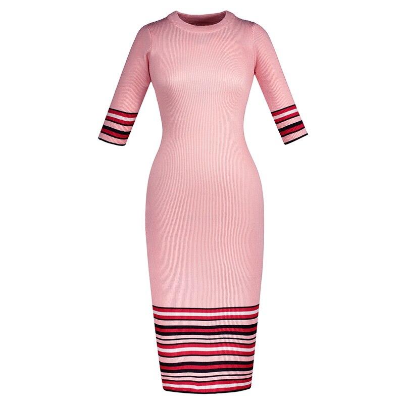 Mid calf elegant bodycon Autumn Winter dresses Long Slim Twist Knitted Sweater Dress Women Winter Dress Korean Dress
