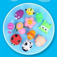 Милые растения животные вода распылительный инструмент для малышей Дети ванны душ игрушки поплавок Подсолнух Божья коровка лягушка Сжимаемый звук ванная комната брызгающая игрушка