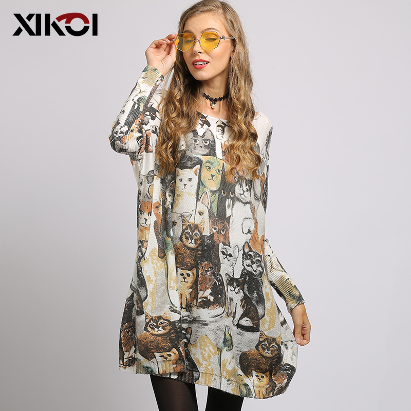 XIKOI European And American Oversized Women Sweaters Cat Print Slash Neck Pullovers Computer Knitted Casual Long Loose Sweater
