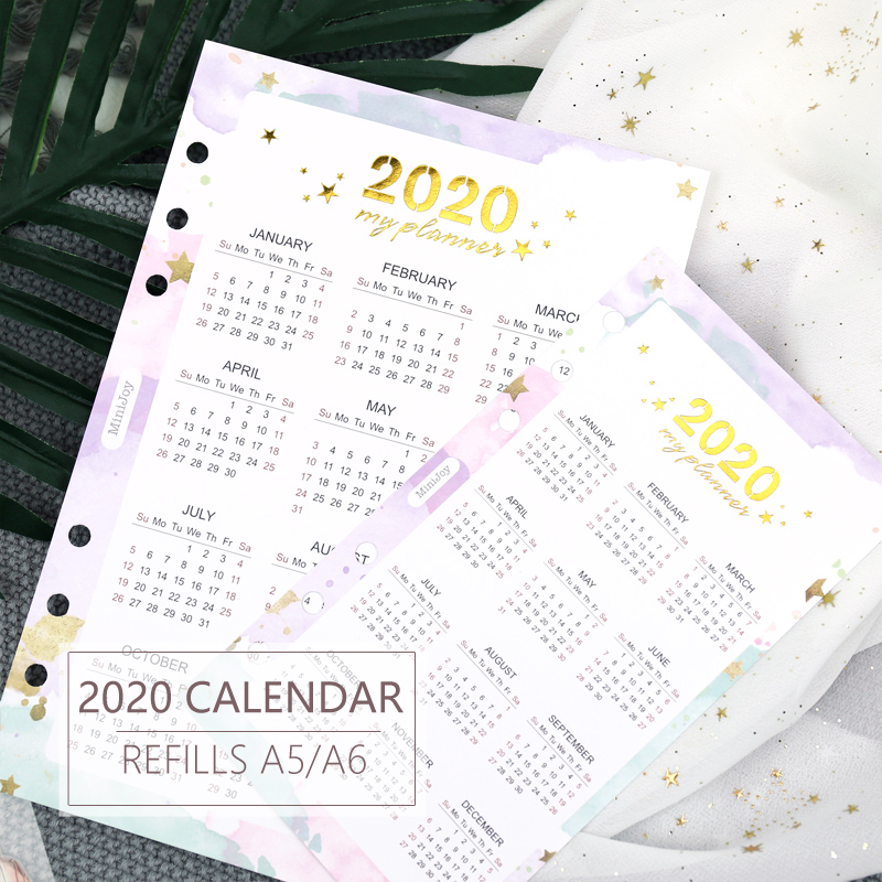 A5 A6 Paper 2020 Calendar Kalendar Colorful Paper Cute Protecting Inner  Spacer Planner Organizer Index Divider Separator